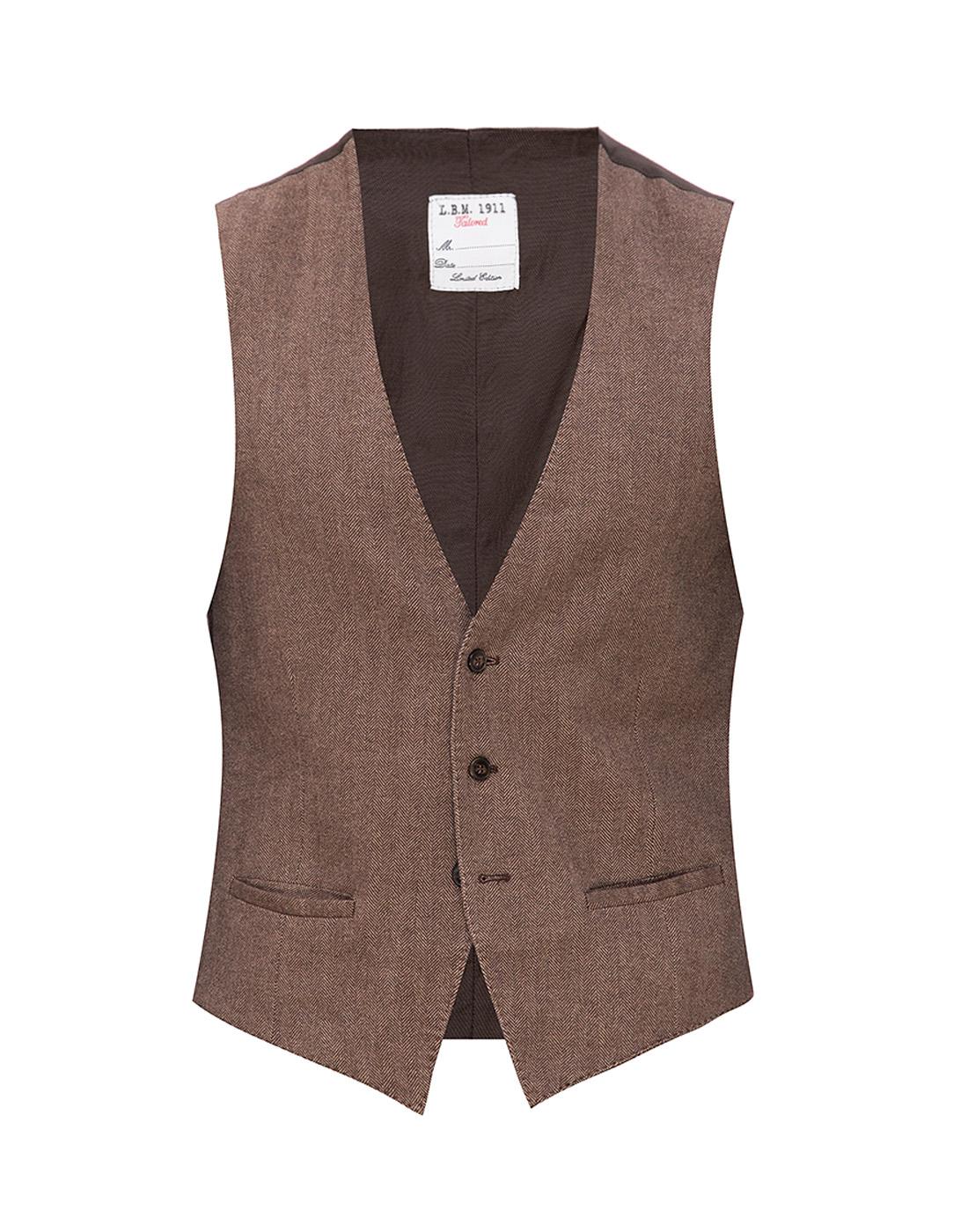 Мужской коричневый шерстяной жилет Lubiam S95078/05 1470-1