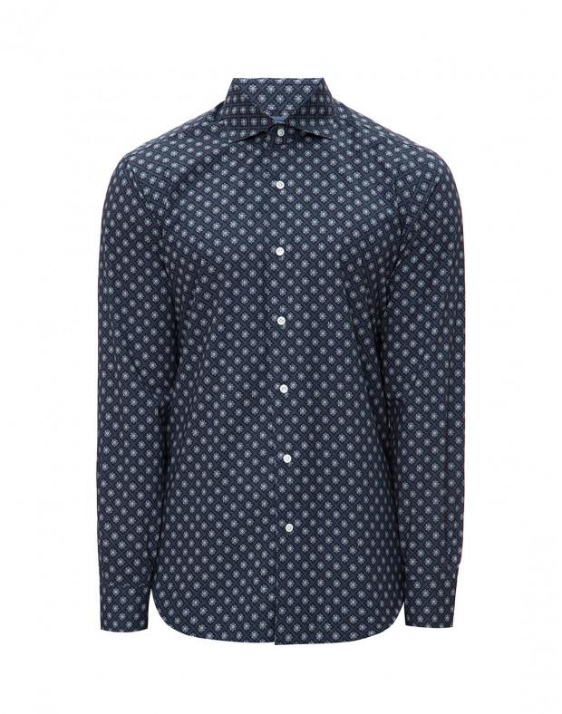 Мужская темно-синяя рубашка с принтом