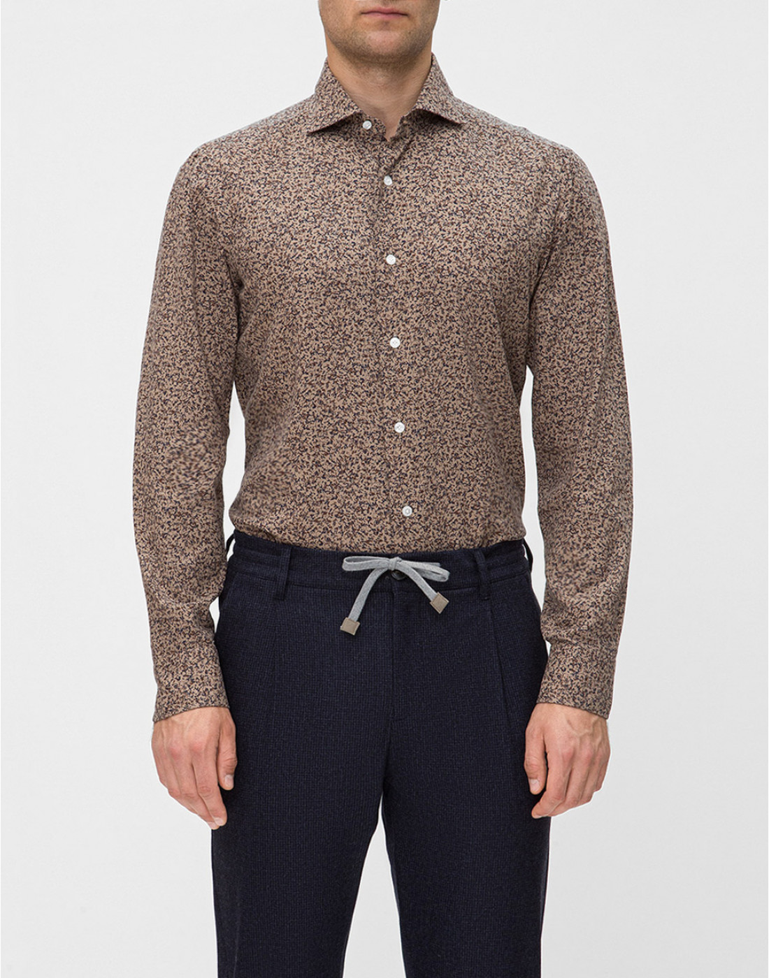 Мужская коричневая рубашка с принтом Barba SD2U133601602U-2
