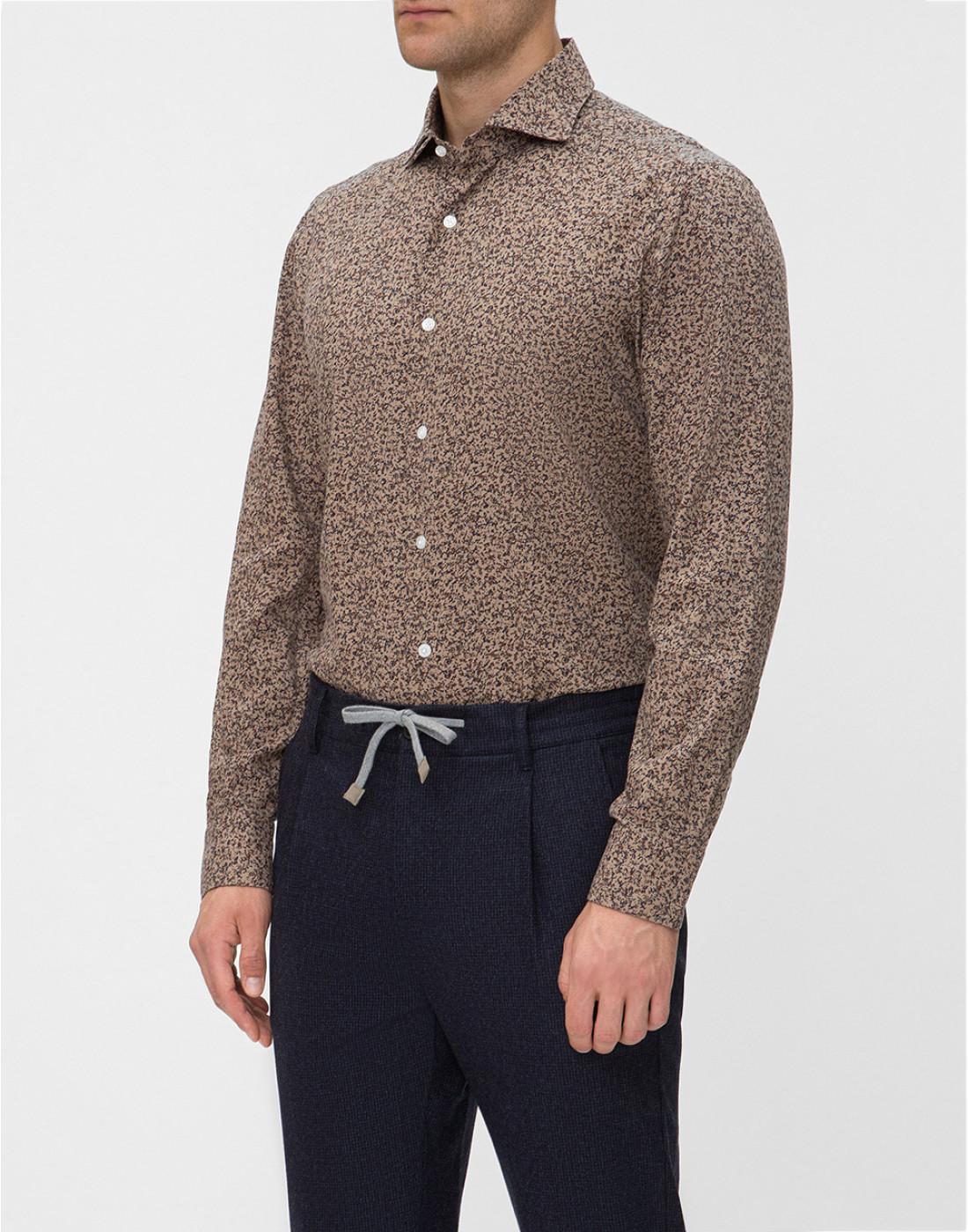 Мужская коричневая рубашка с принтом Barba SD2U133601602U-3