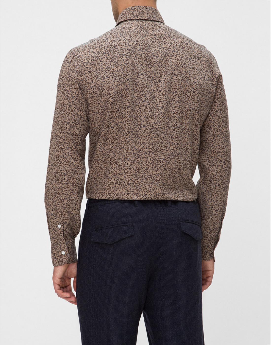 Мужская коричневая рубашка с принтом Barba SD2U133601602U-4