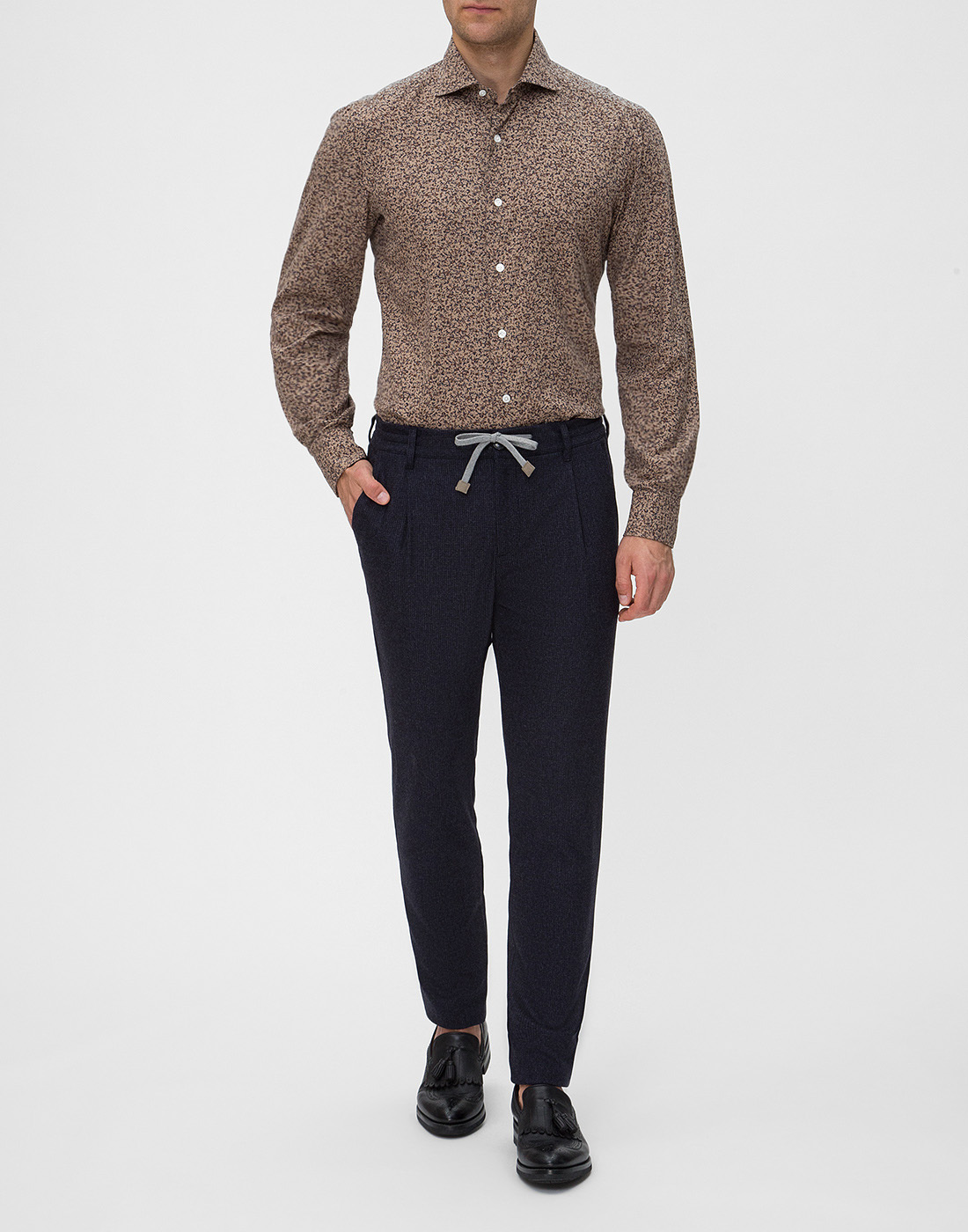 Мужская коричневая рубашка с принтом Barba SD2U133601602U-5