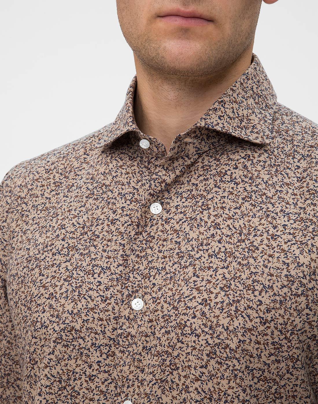 Мужская коричневая рубашка с принтом Barba SD2U133601602U-6