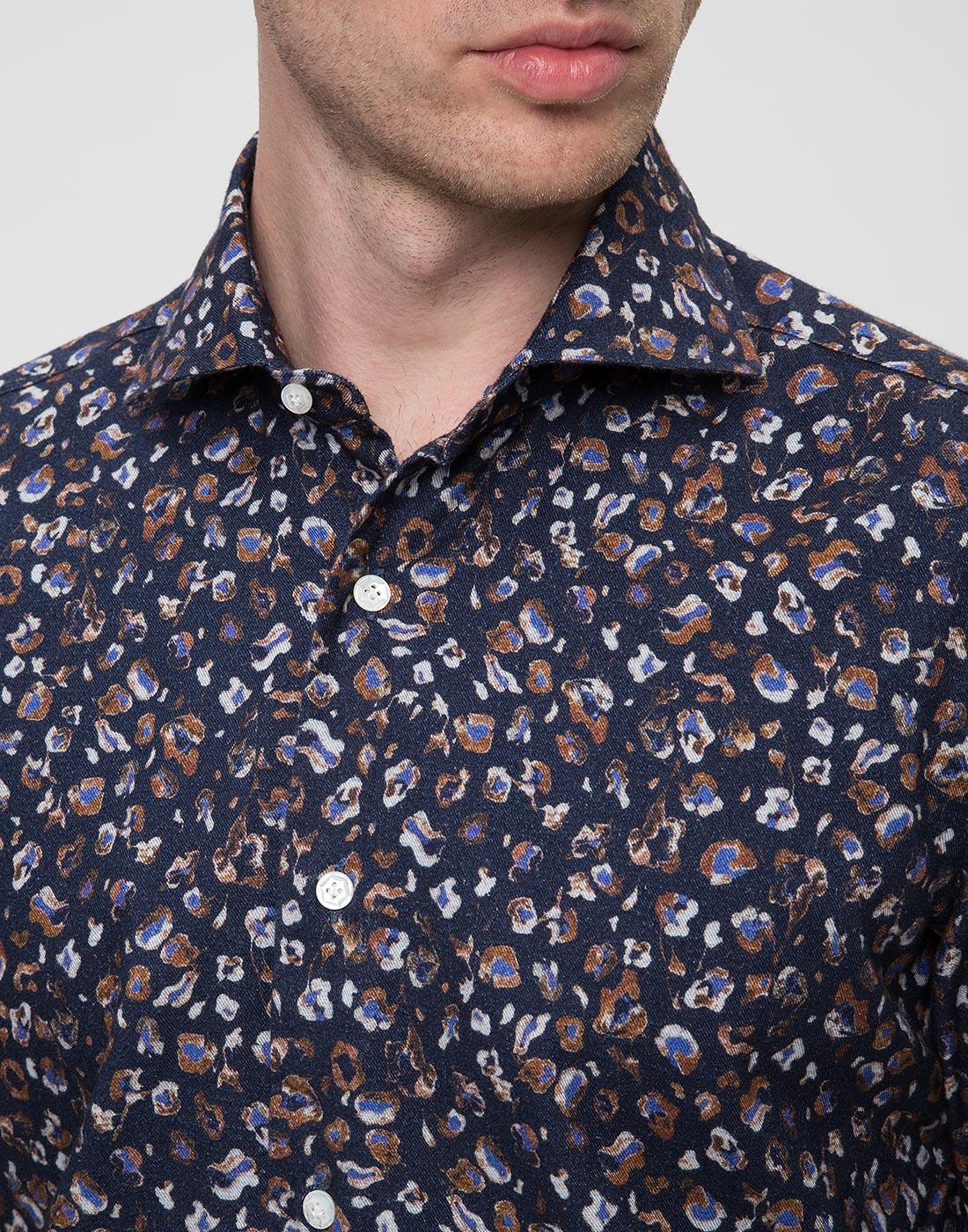 Мужская синяя рубашка Barba SD2U133606501U-6