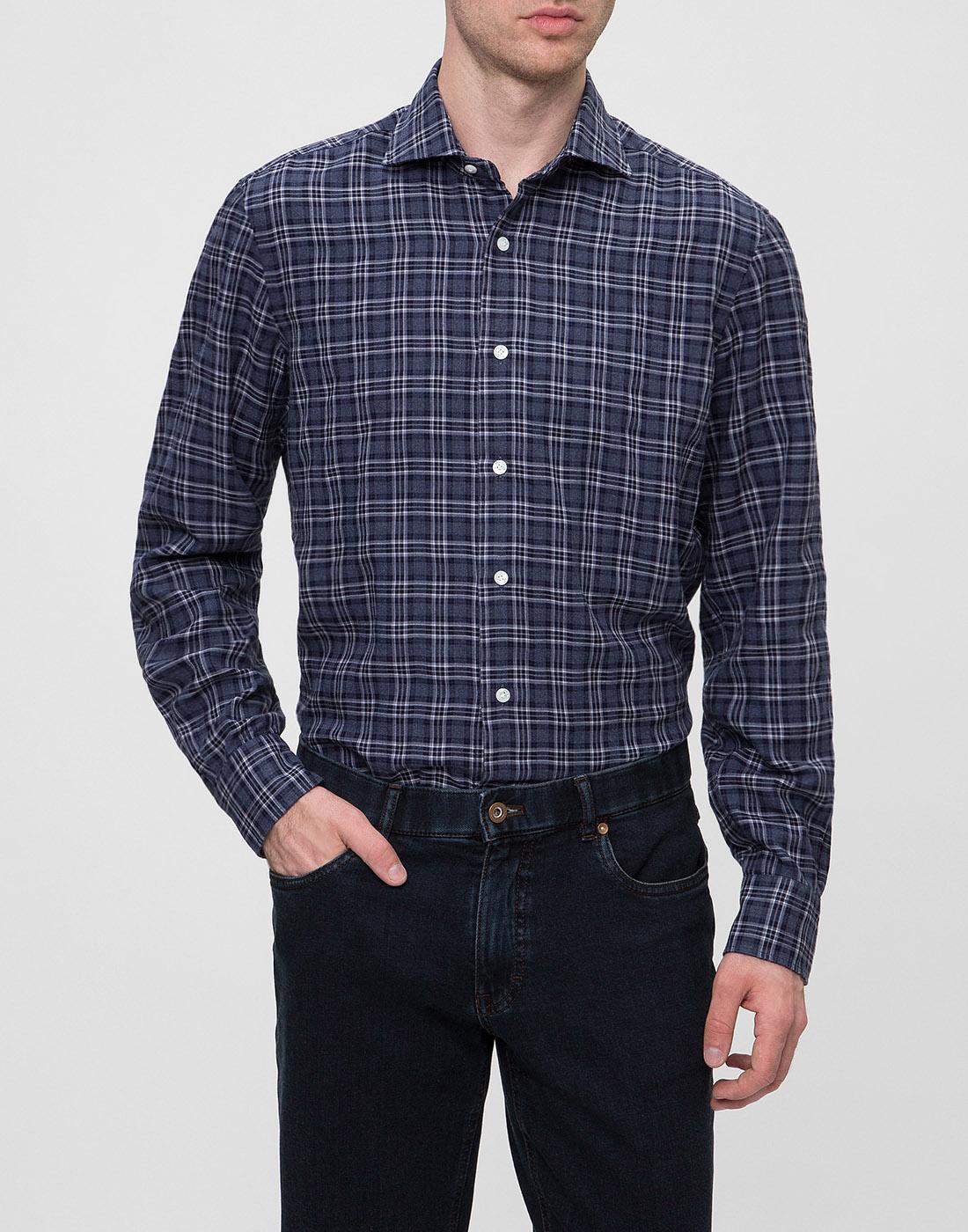 Мужская синяя рубашка в клетку Barba SD2U133603601X-2