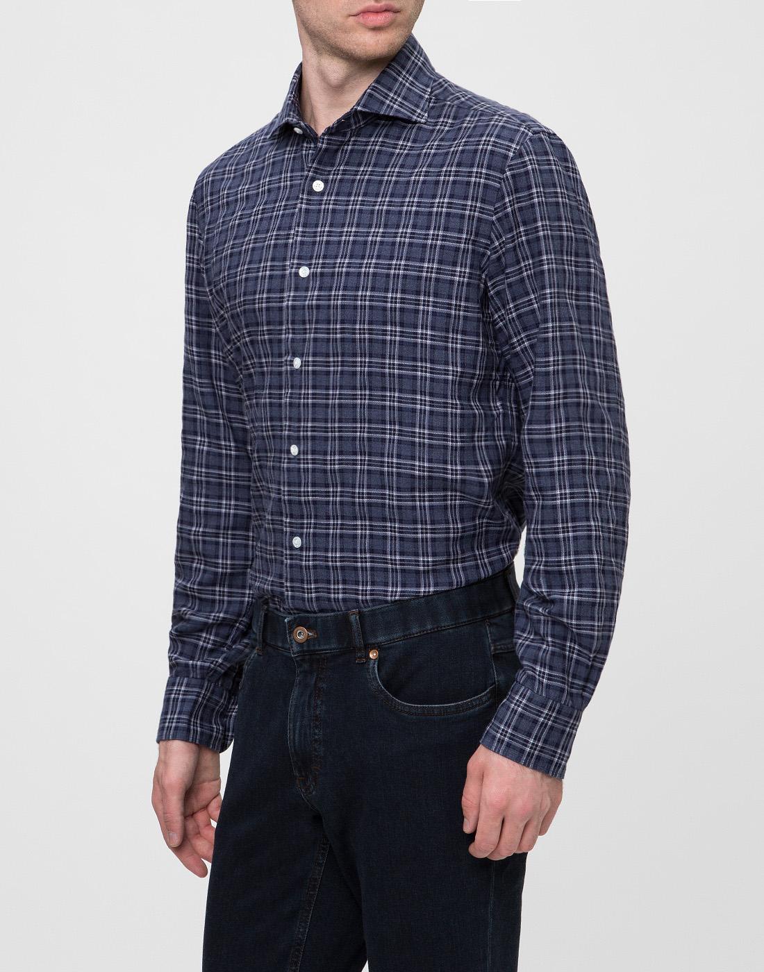 Мужская синяя рубашка в клетку Barba SD2U133603601X-3