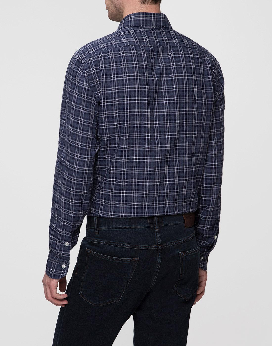 Мужская синяя рубашка в клетку Barba SD2U133603601X-4