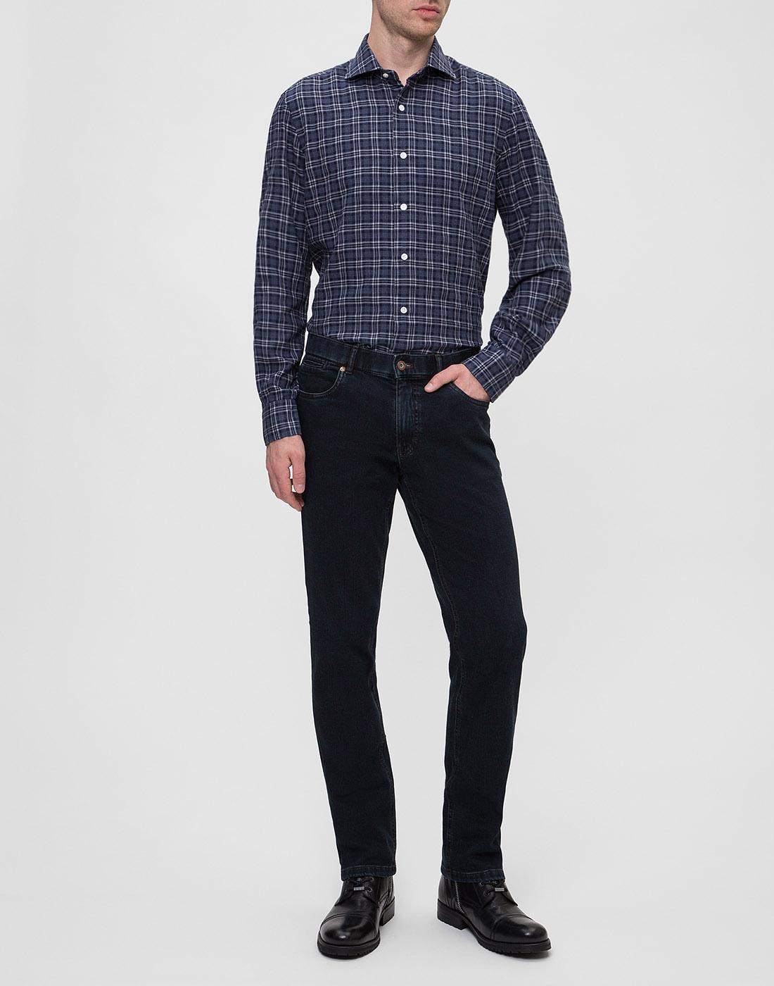 Мужская синяя рубашка в клетку Barba SD2U133603601X-5