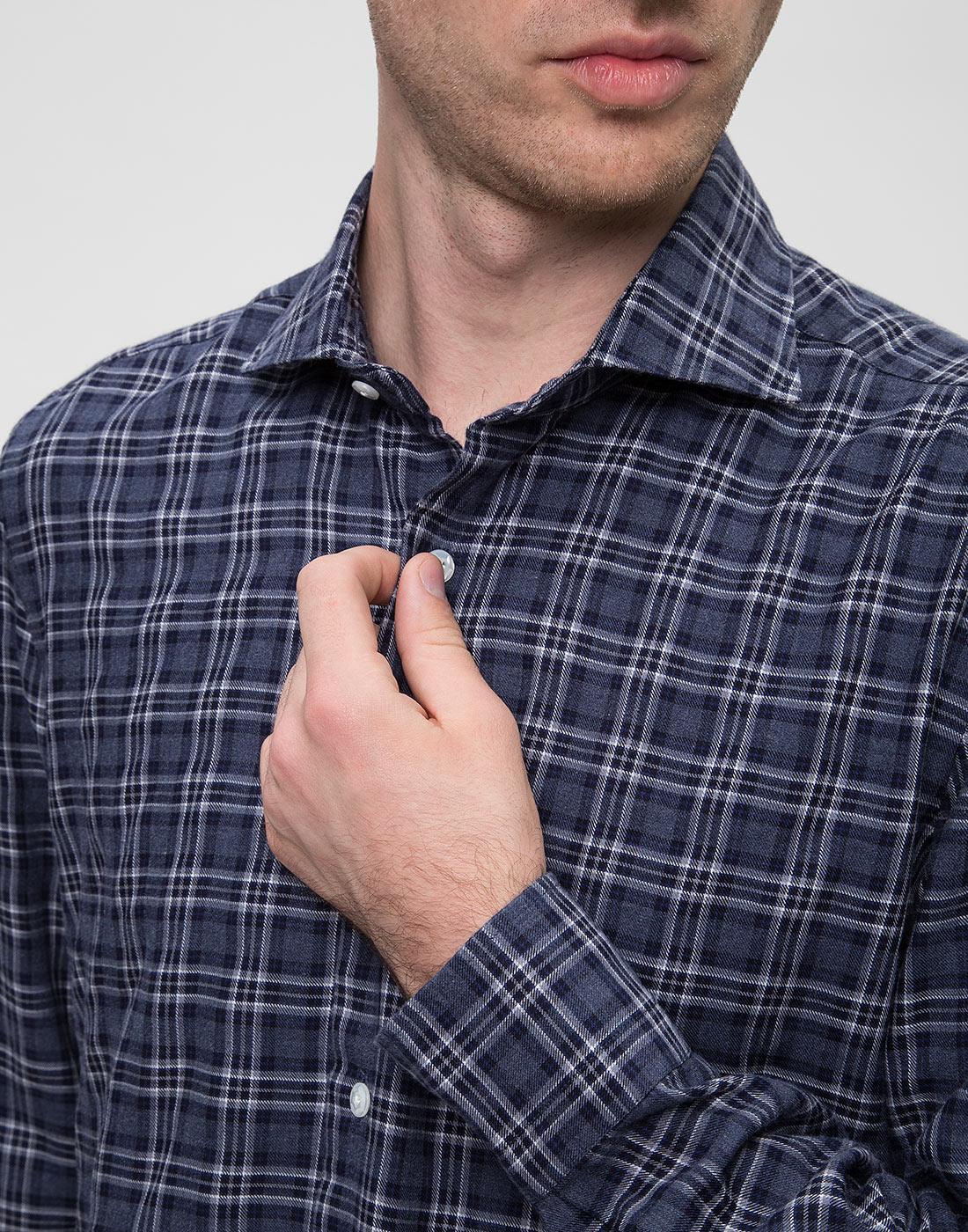 Мужская синяя рубашка в клетку Barba SD2U133603601X-6