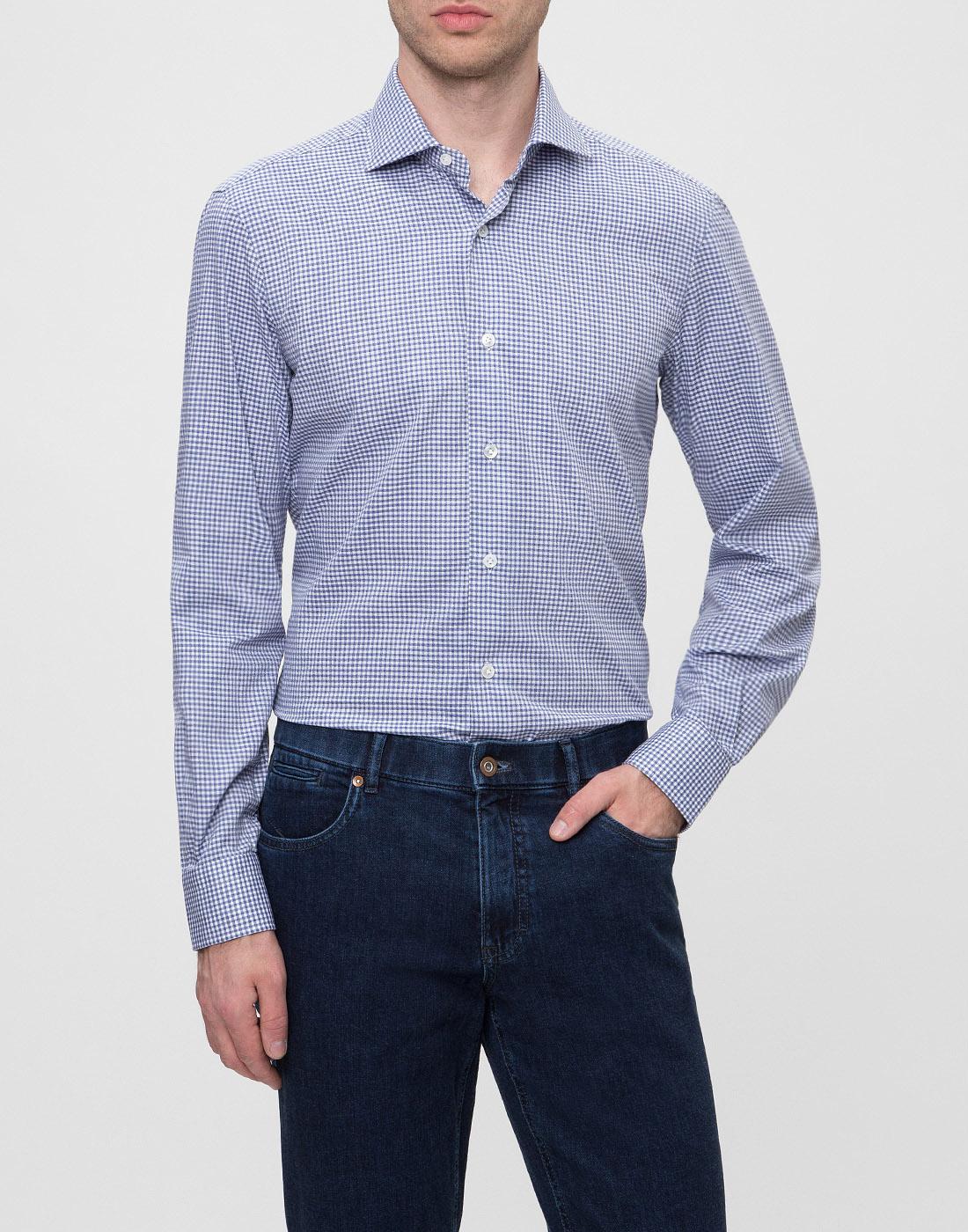 Мужская голубая рубашка в клетку Barba SK4U132599301W-2