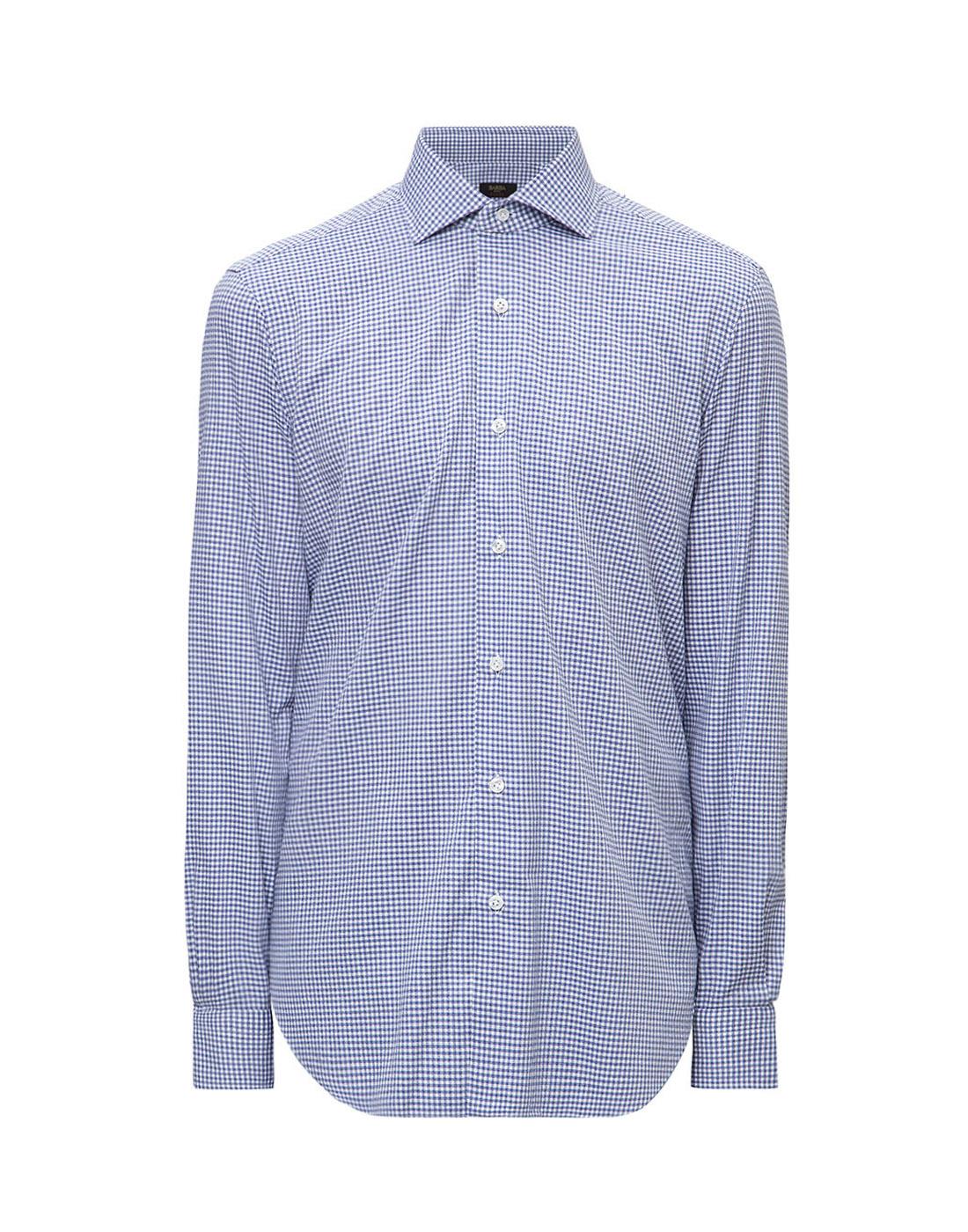 Мужская голубая рубашка в клетку Barba SK4U132599301W-1