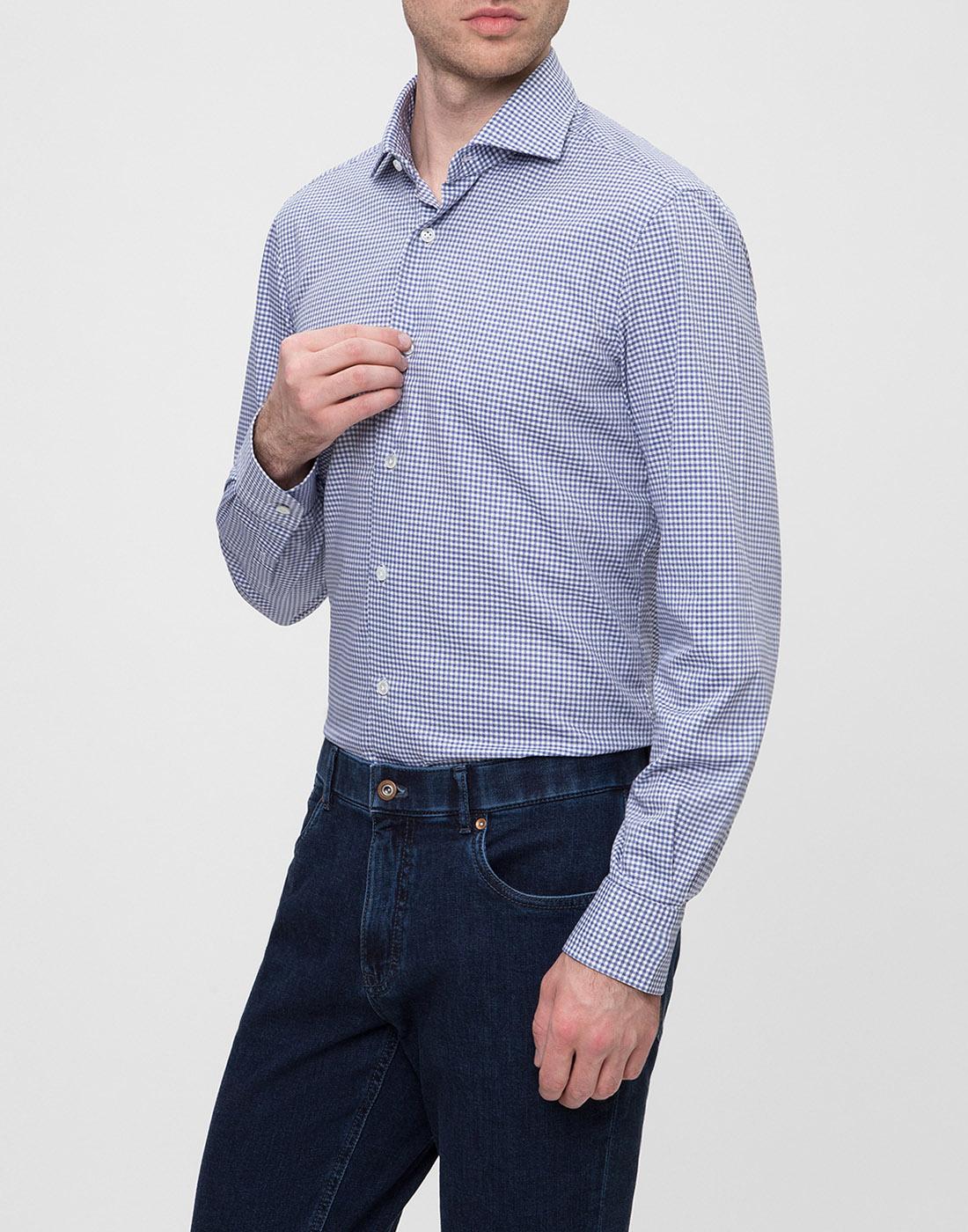 Мужская голубая рубашка в клетку Barba SK4U132599301W-3