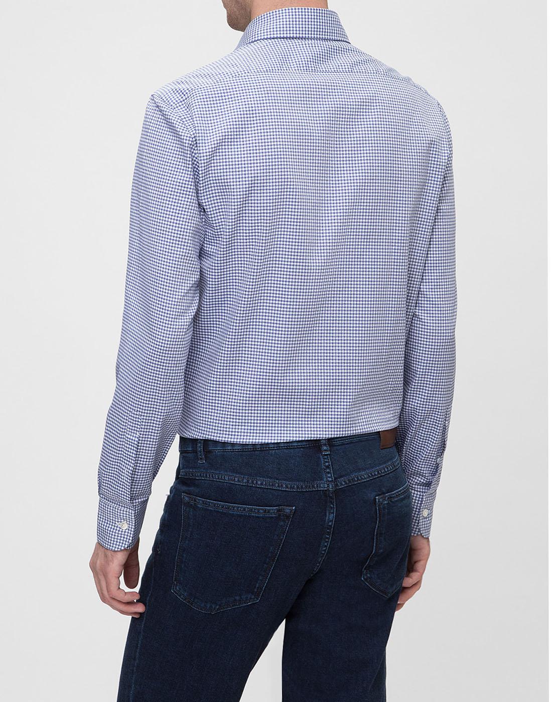 Мужская голубая рубашка в клетку Barba SK4U132599301W-4