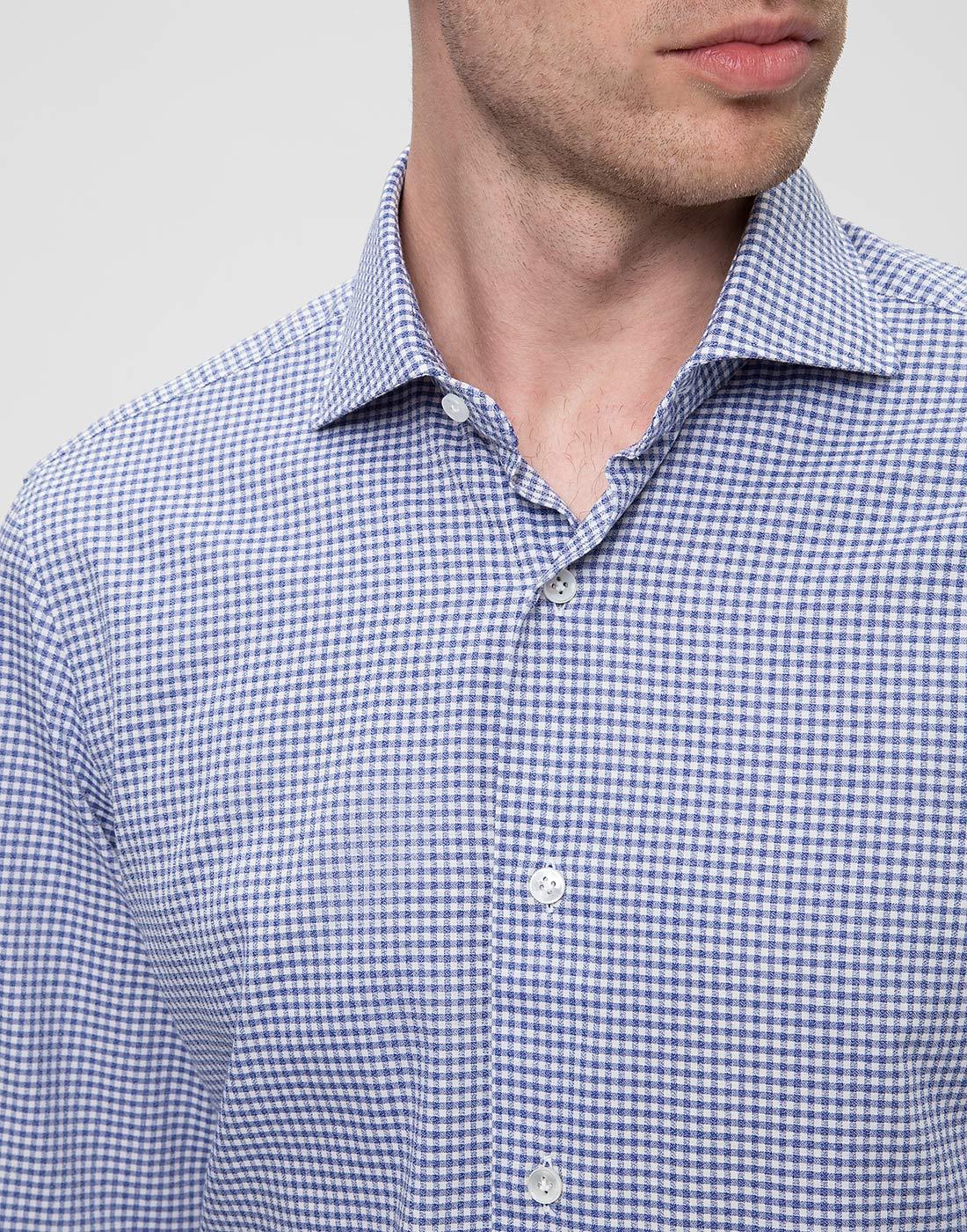 Мужская голубая рубашка в клетку Barba SK4U132599301W-6