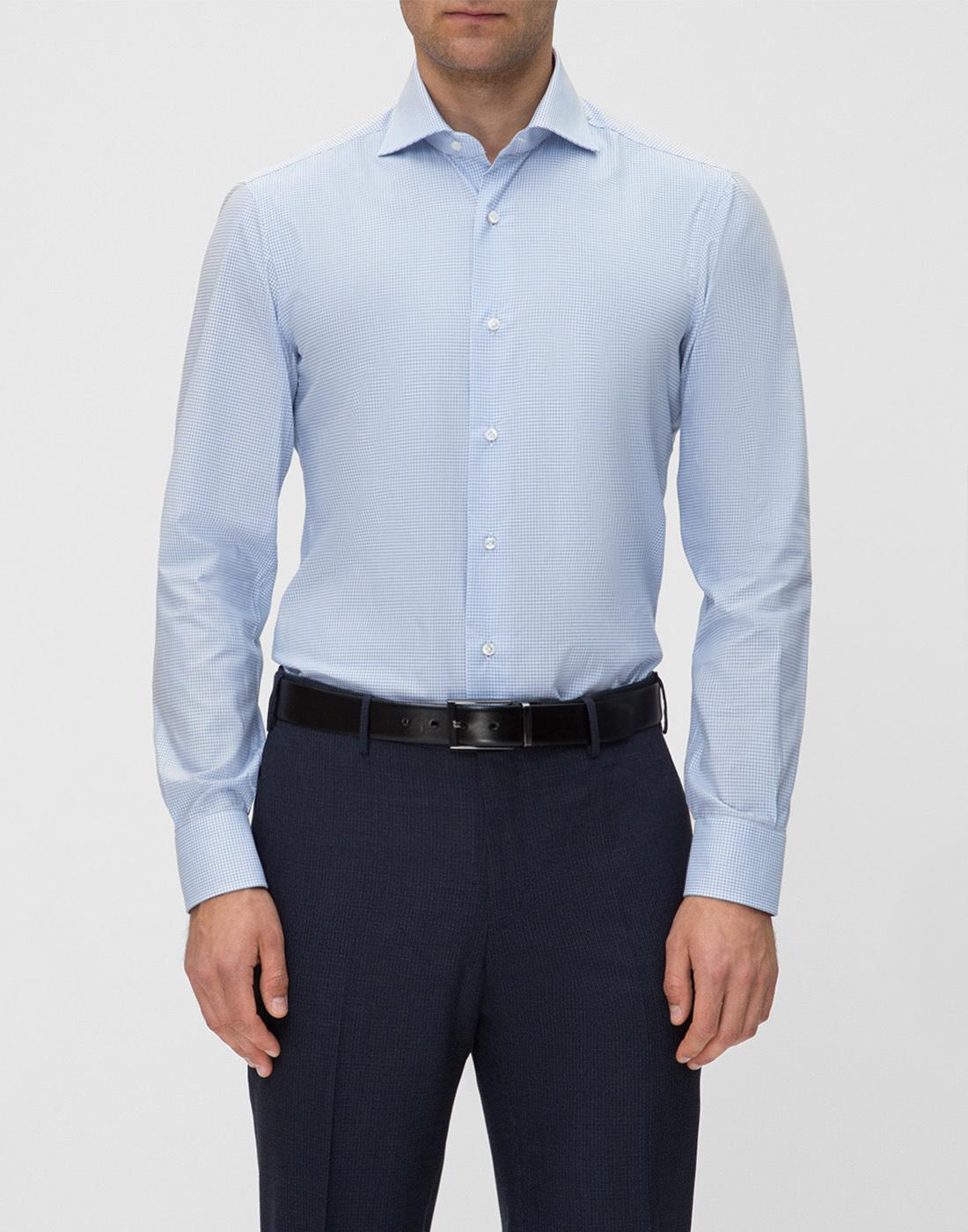 Мужская голубая рубашка в клетку Barba SD4U132593804U-2
