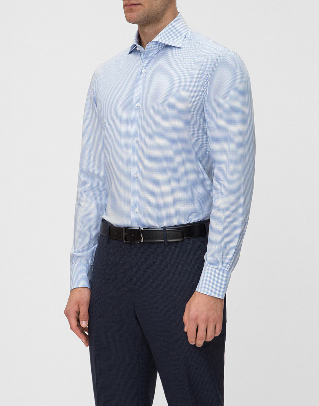 Мужская голубая рубашка в клетку Barba SD4U132593804U-3