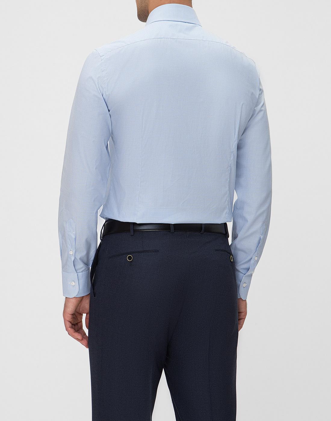 Мужская голубая рубашка в клетку Barba SD4U132593804U-4
