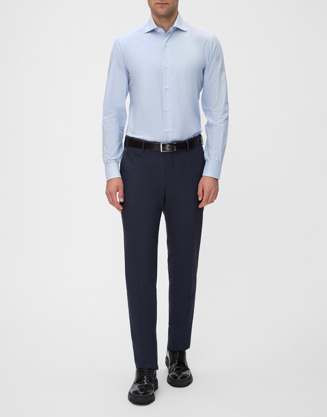 Мужская голубая рубашка в клетку Barba SD4U132593804U-5