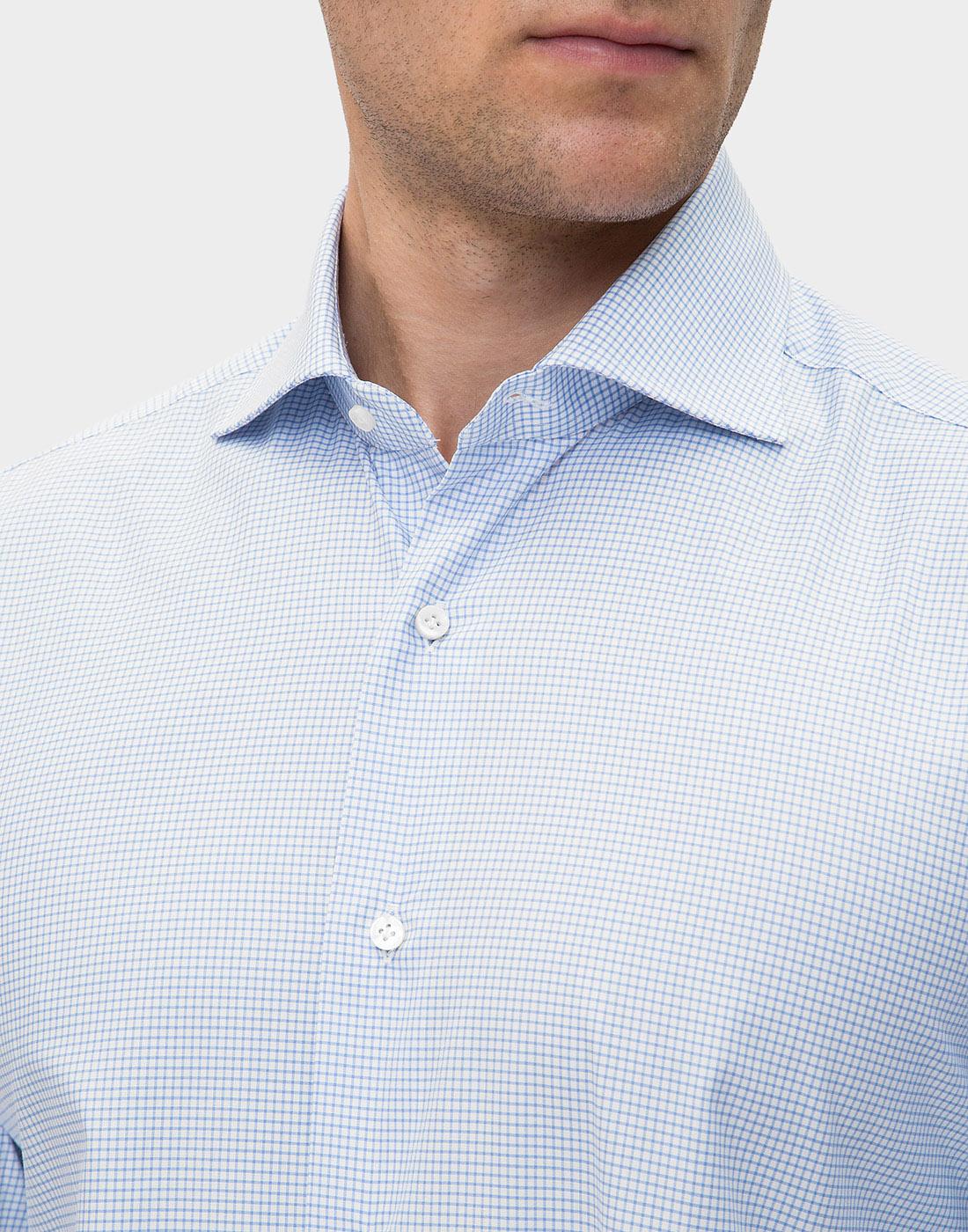 Мужская голубая рубашка в клетку Barba SD4U132593804U-6