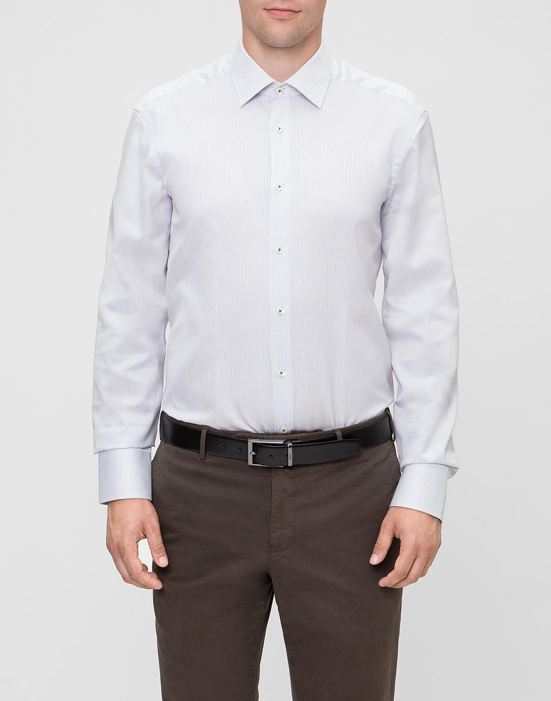 Мужская белая рубашка в полоску