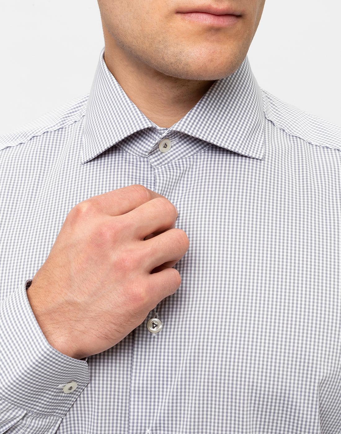 Мужская серая рубашка в клетку