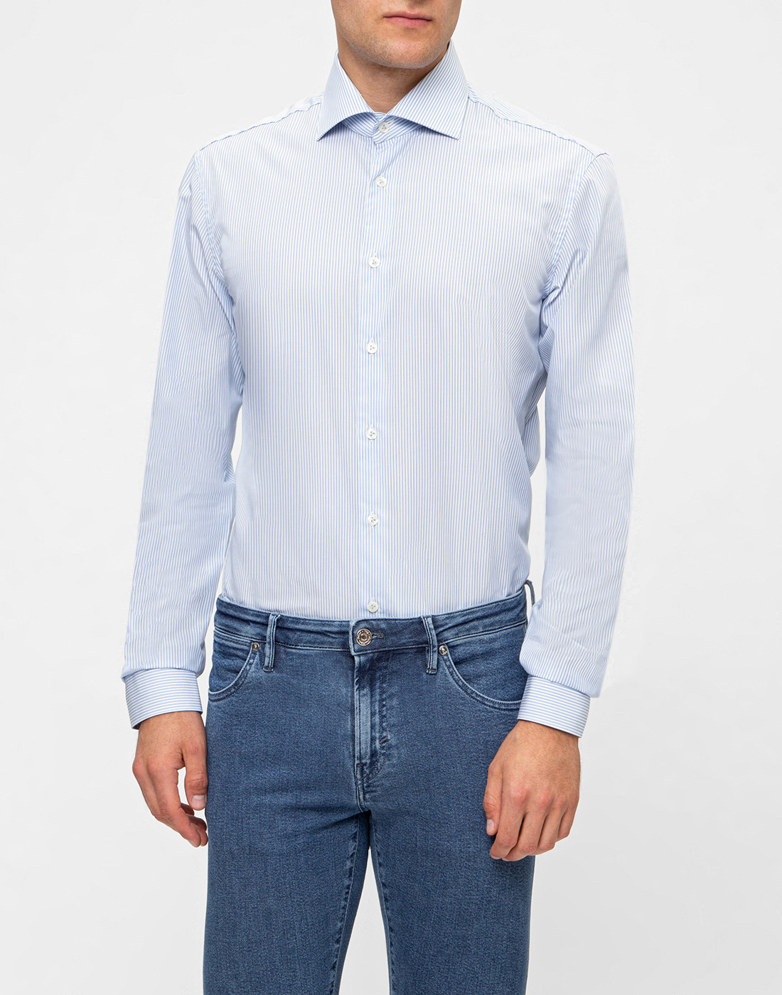 Мужская голубая рубашка в полоску Van Laack S151437/720-2