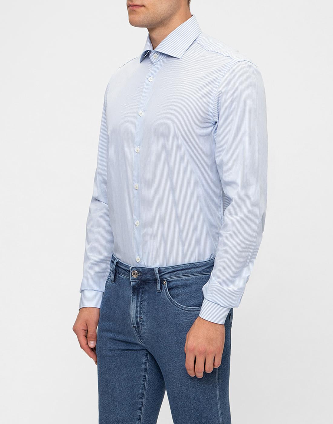 Мужская голубая рубашка в полоску Van Laack S151437/720-3