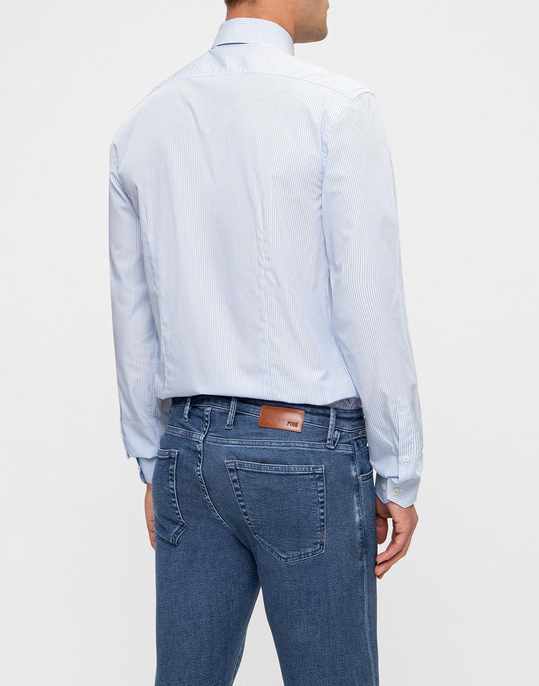 Мужская голубая рубашка в полоску Van Laack S151437/720-4