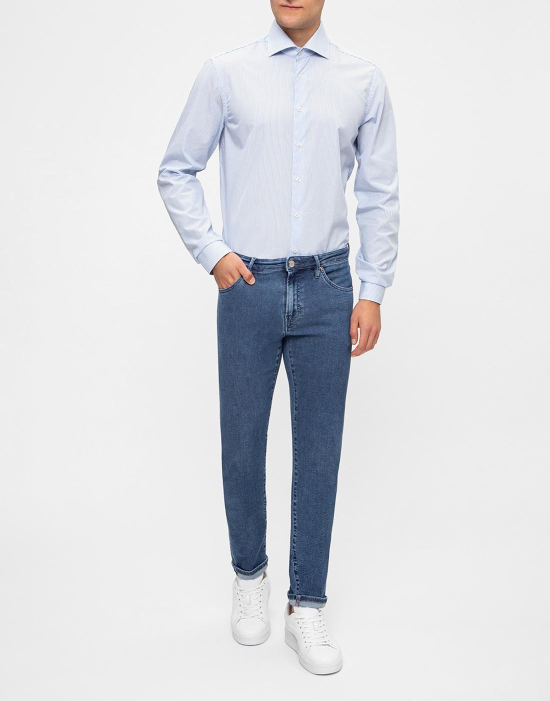 Мужская голубая рубашка в полоску Van Laack S151437/720-5