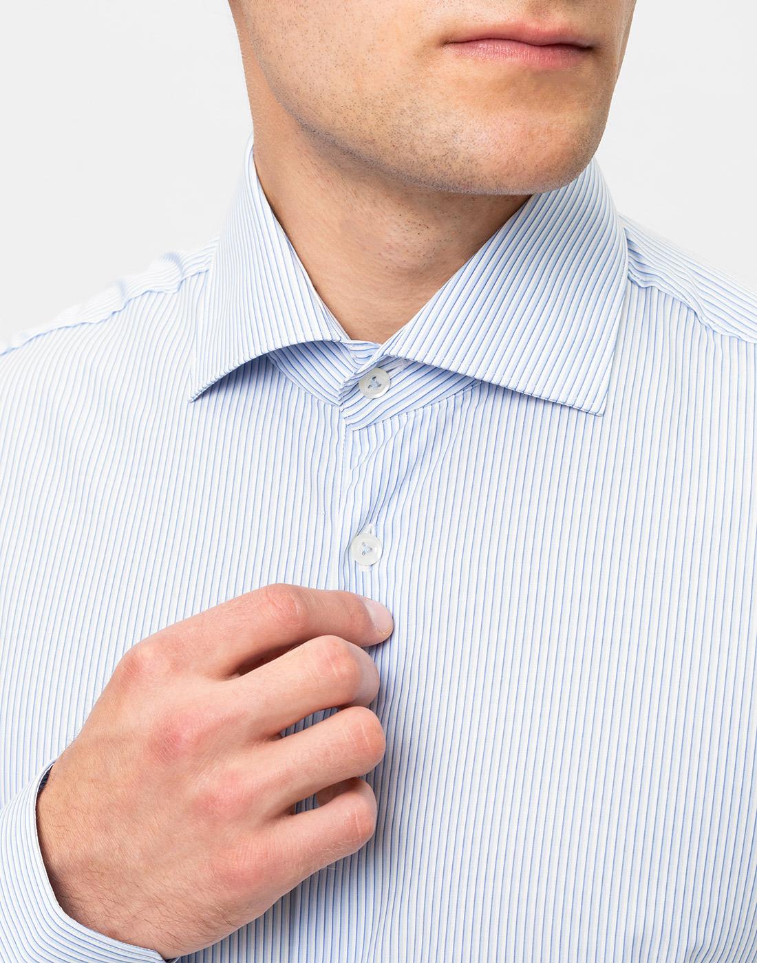 Мужская голубая рубашка в полоску Van Laack S151437/720-6