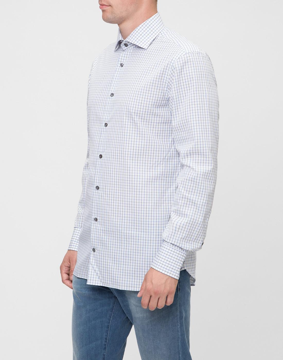Мужская белая рубашка в клетку Van Laack S151714/007-3