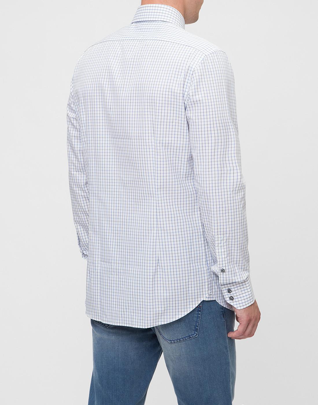 Мужская белая рубашка в клетку Van Laack S151714/007-4