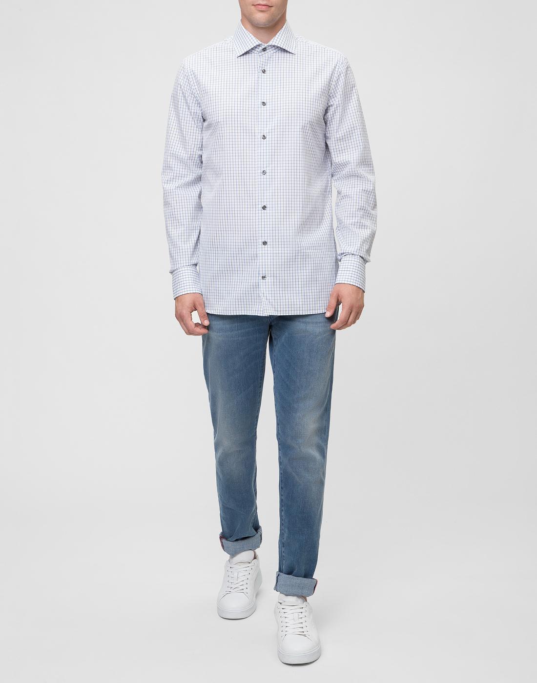 Мужская белая рубашка в клетку Van Laack S151714/007-5