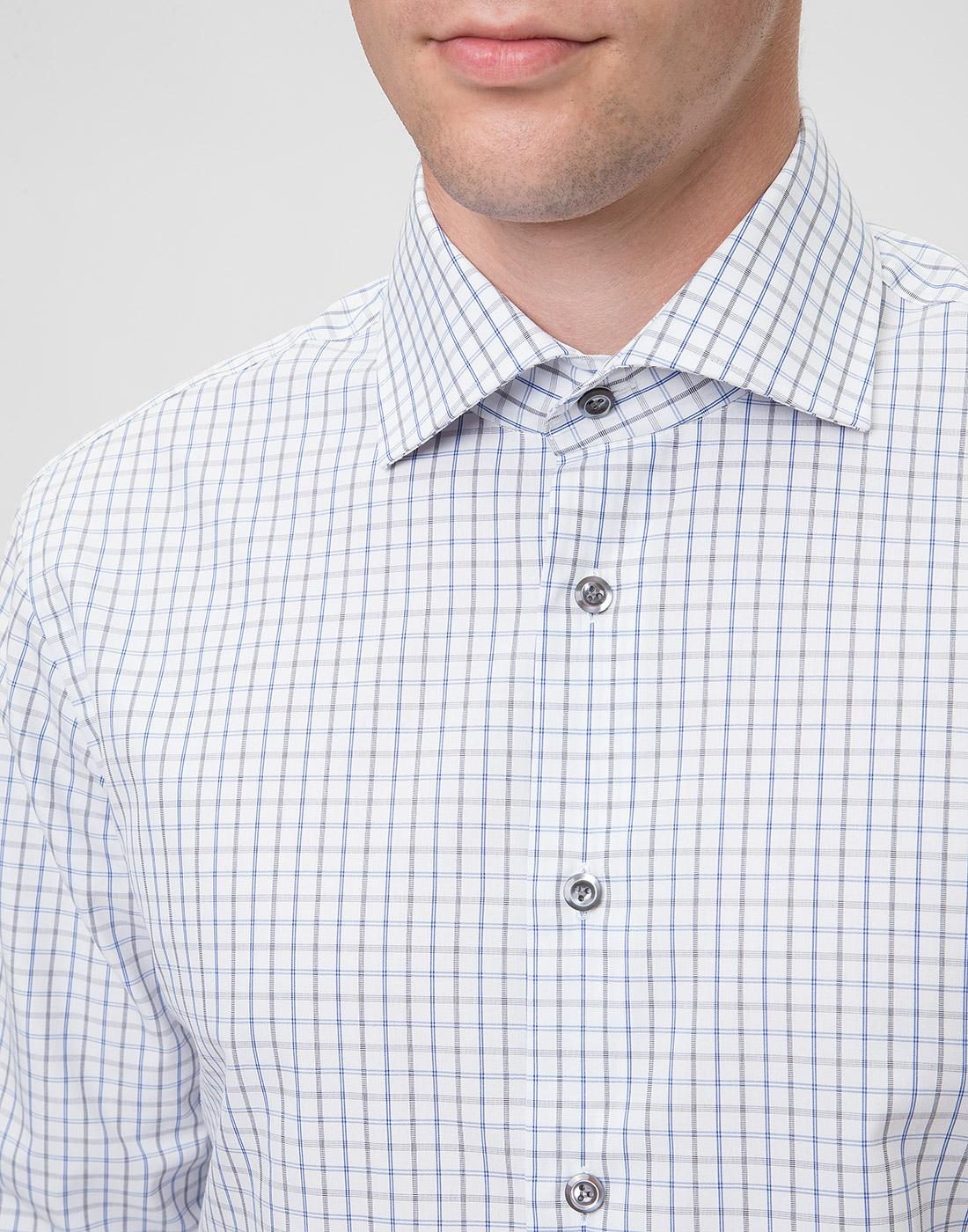 Мужская белая рубашка в клетку Van Laack S151714/007-6
