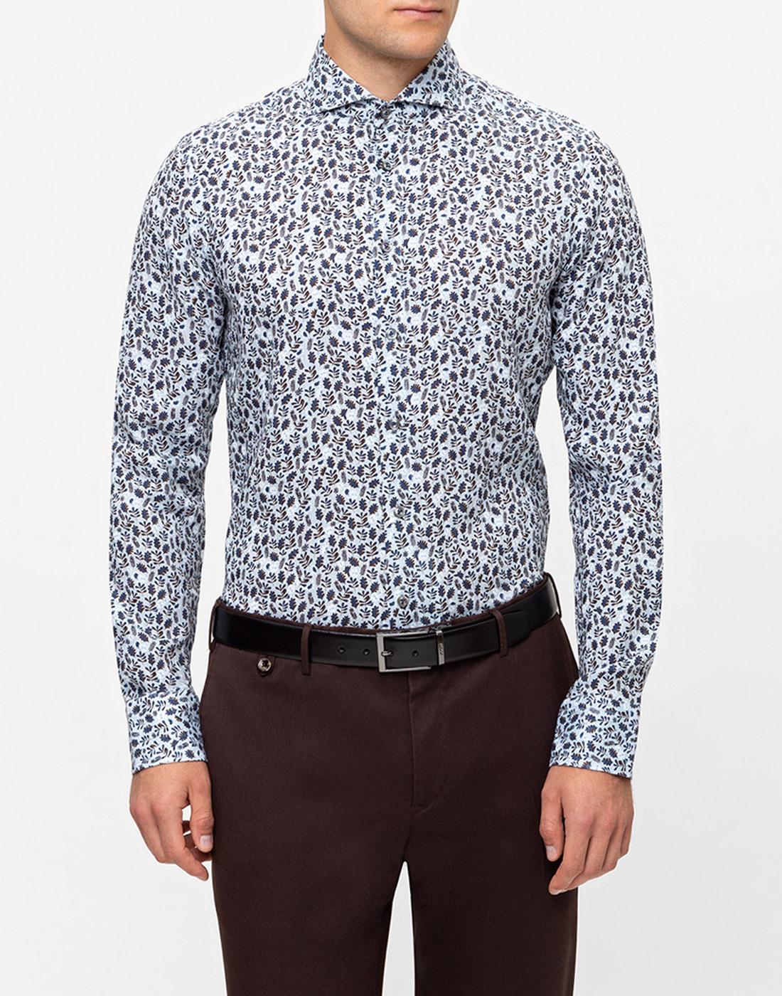 Мужская голубая льняная рубашка с принтом Van Laack S170066/727-2