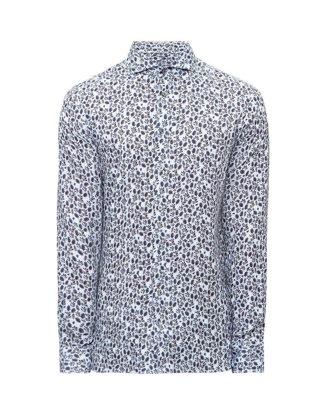 Мужская голубая льняная рубашка с принтом Van Laack S170066/727-1