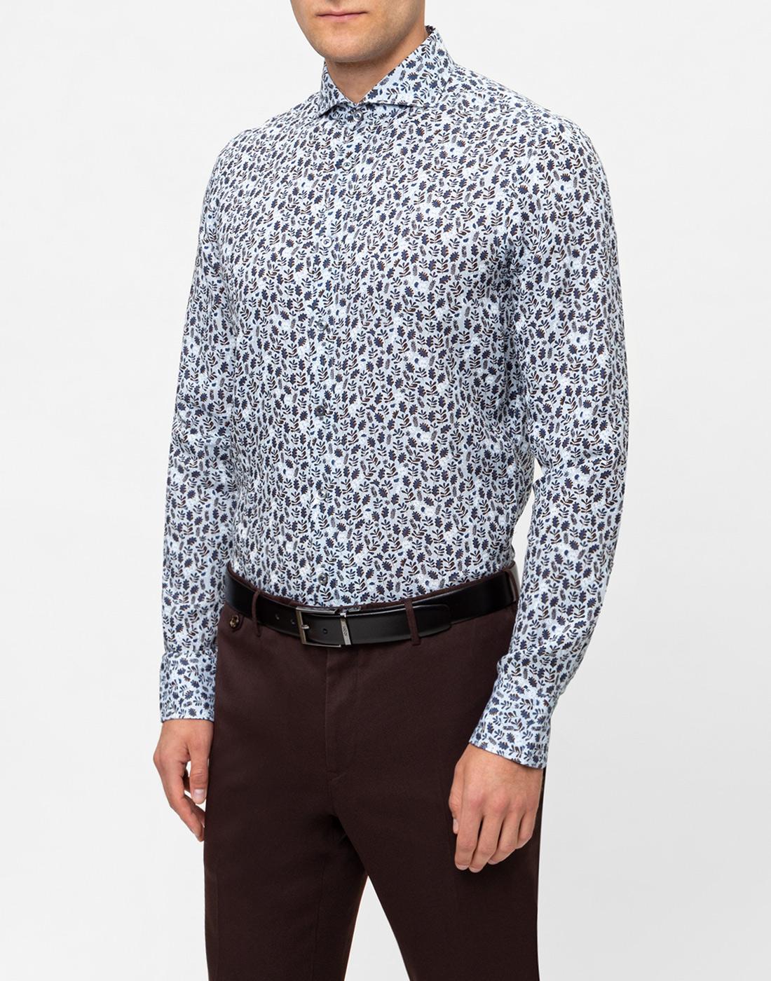Мужская голубая льняная рубашка с принтом Van Laack S170066/727-3