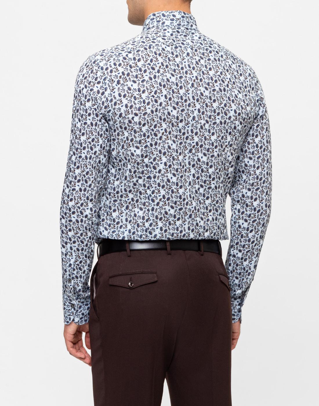 Мужская голубая льняная рубашка с принтом Van Laack S170066/727-4