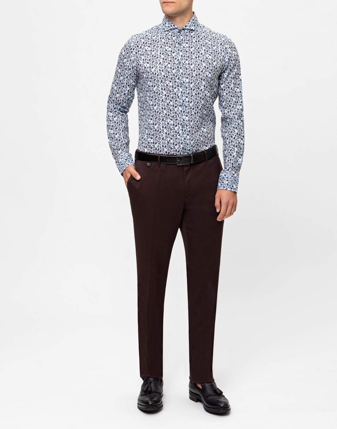 Мужская голубая льняная рубашка с принтом Van Laack S170066/727-5