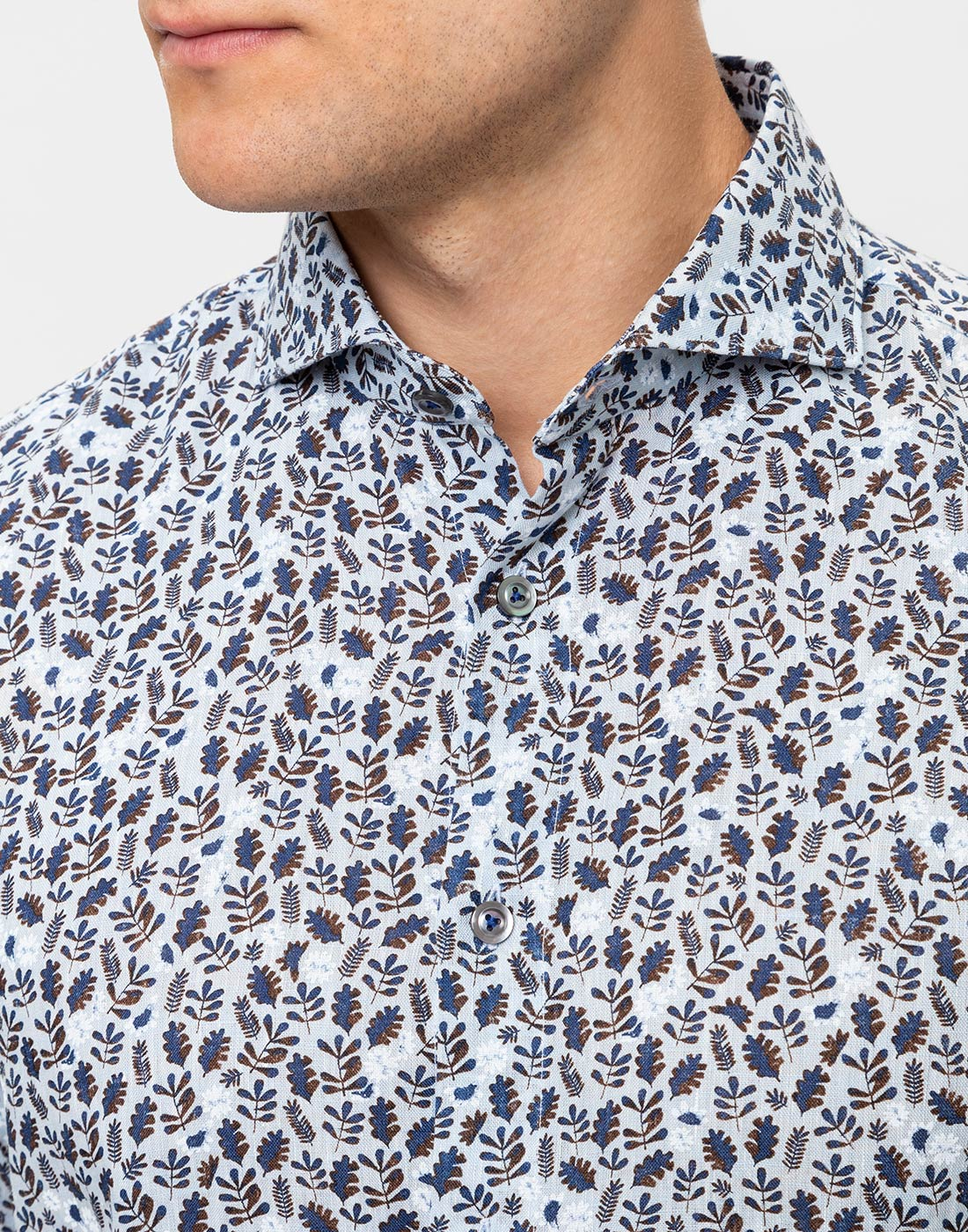 Мужская голубая льняная рубашка с принтом Van Laack S170066/727-6