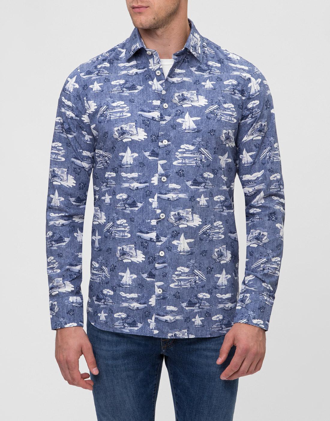 Мужская синяя рубашка с принтом Van Laack S170160/780-2
