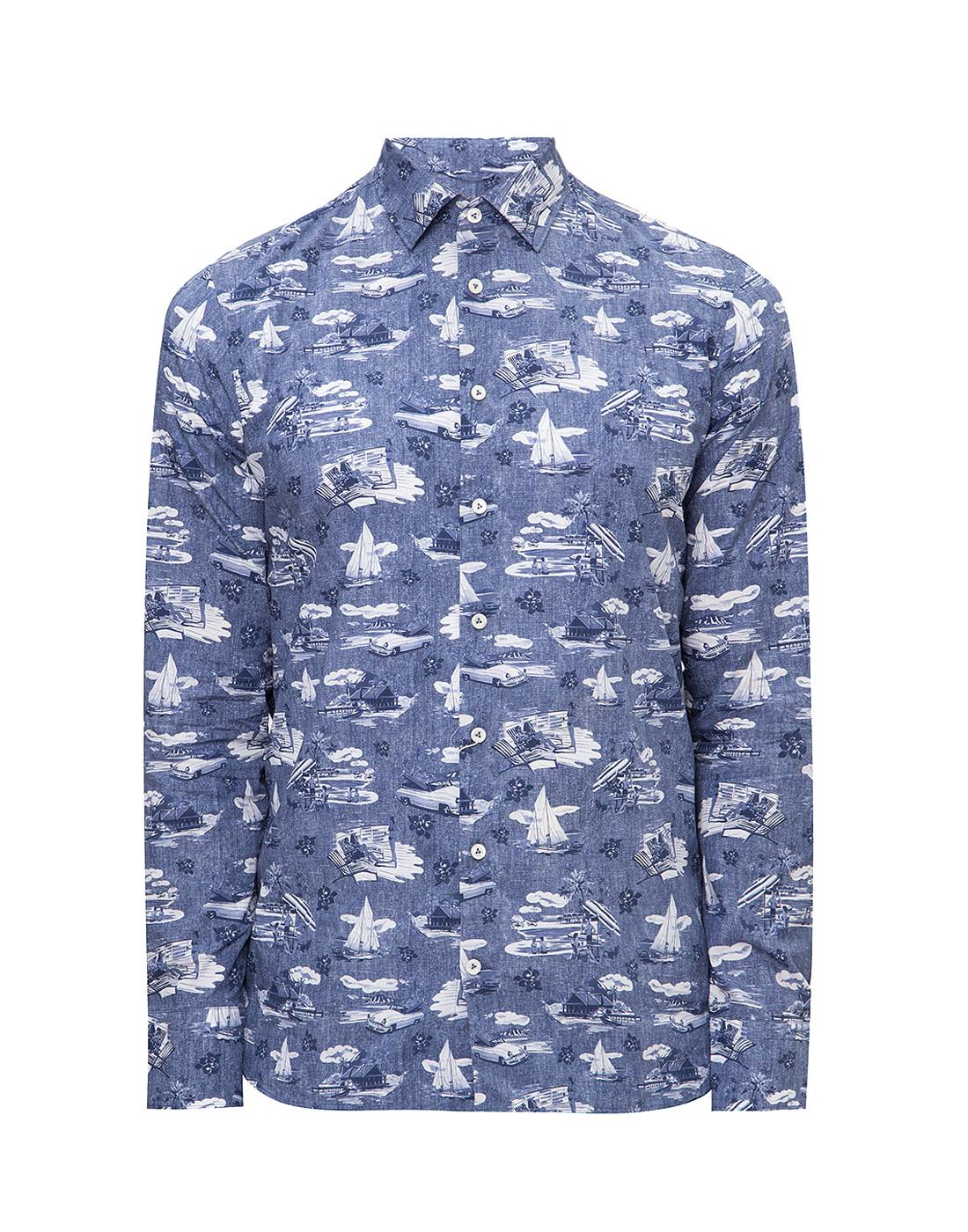 Мужская синяя рубашка с принтом Van Laack S170160/780-1