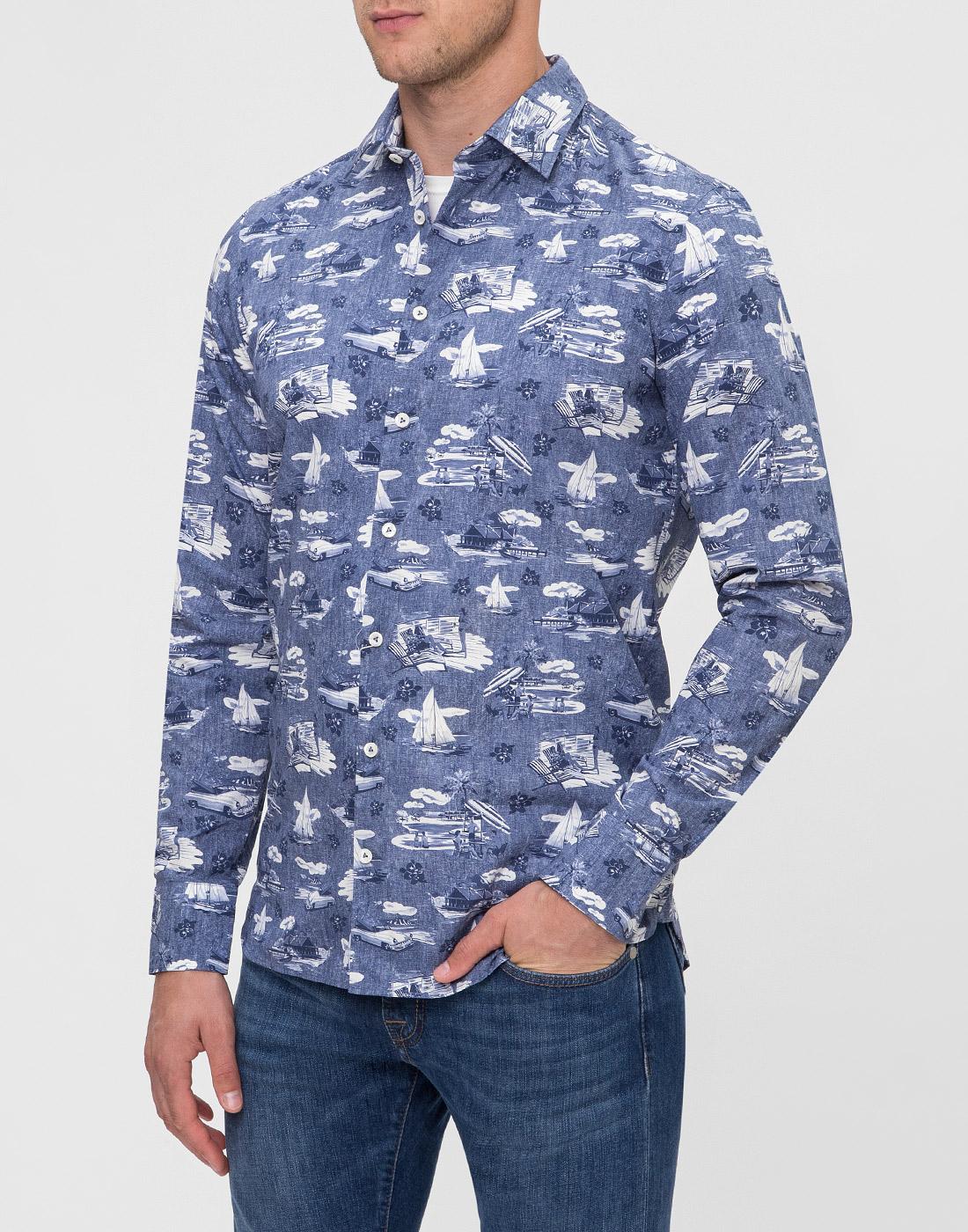 Мужская синяя рубашка с принтом Van Laack S170160/780-3
