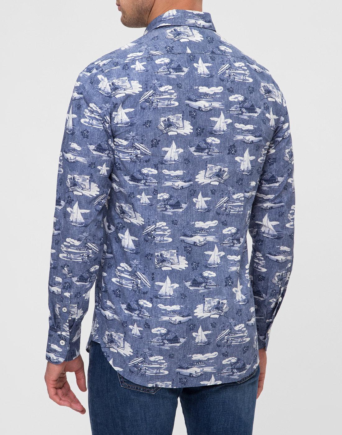 Мужская синяя рубашка с принтом Van Laack S170160/780-4