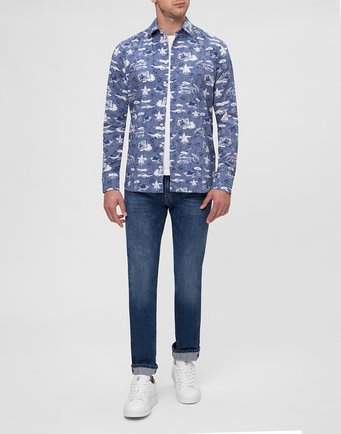 Мужская синяя рубашка с принтом Van Laack S170160/780-5
