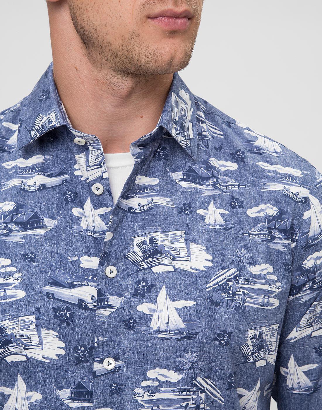 Мужская синяя рубашка с принтом Van Laack S170160/780-6