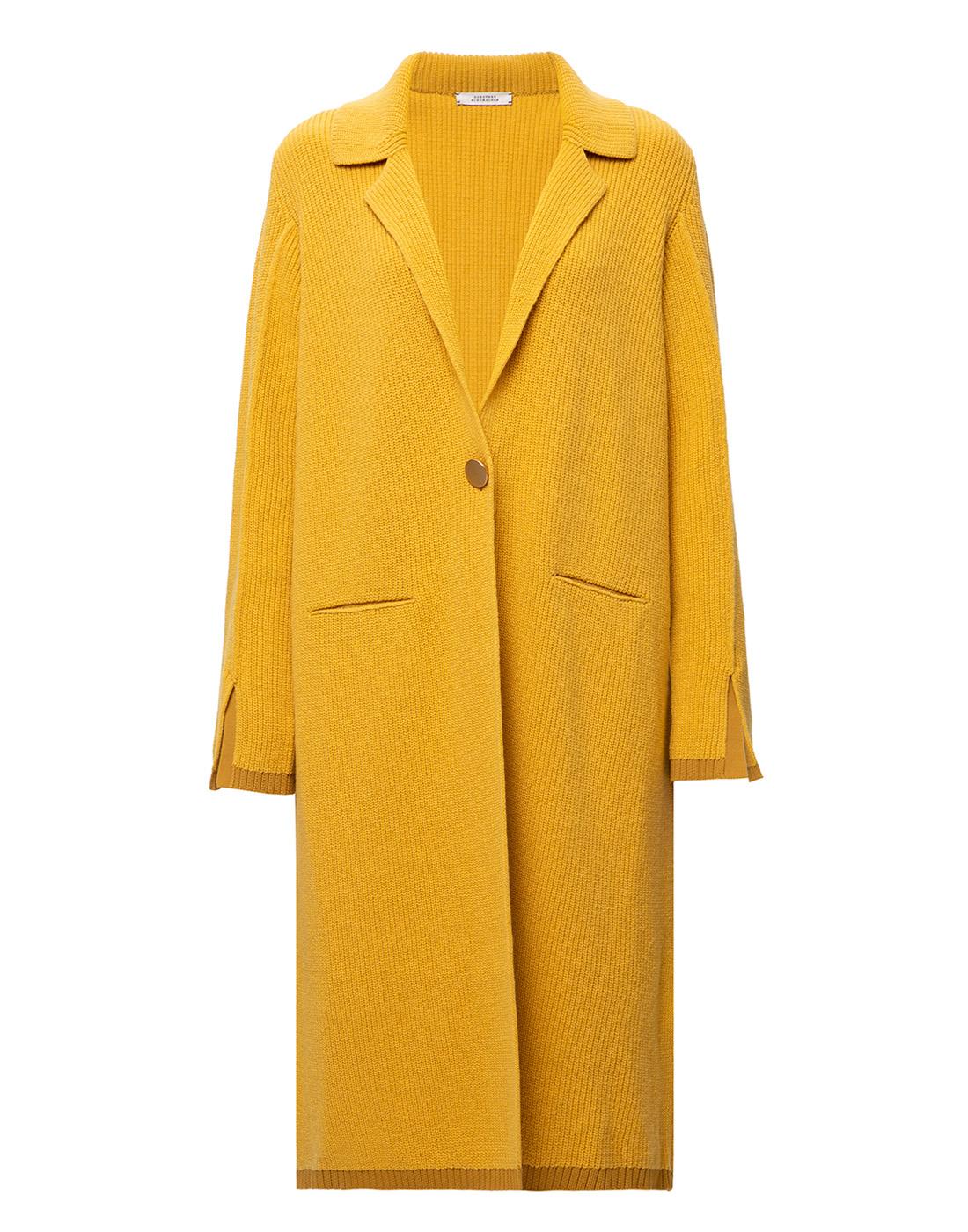 Женское горчичное пальто