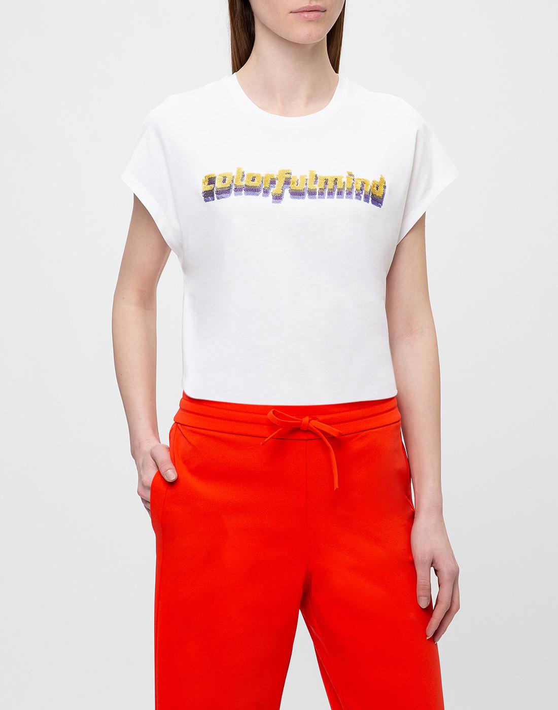 Женская белая футболка с вышивкой пайетками  Dorothee Schumacher S623103/026-2