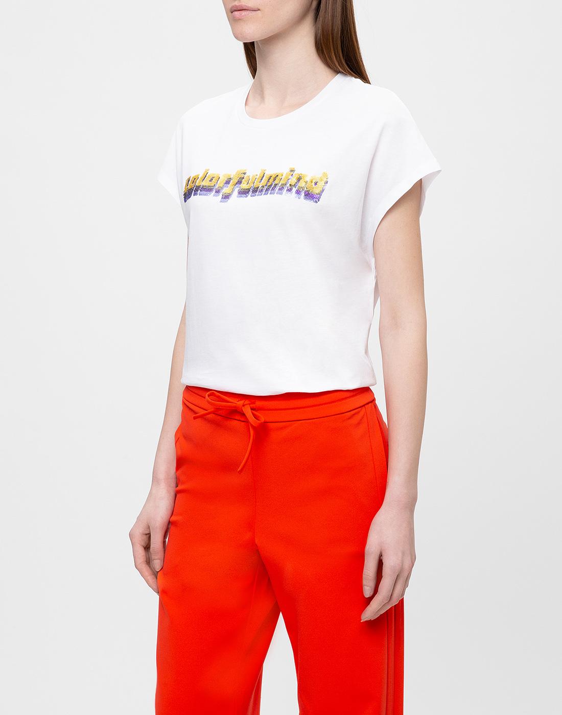 Женская белая футболка с вышивкой пайетками  Dorothee Schumacher S623103/026-3