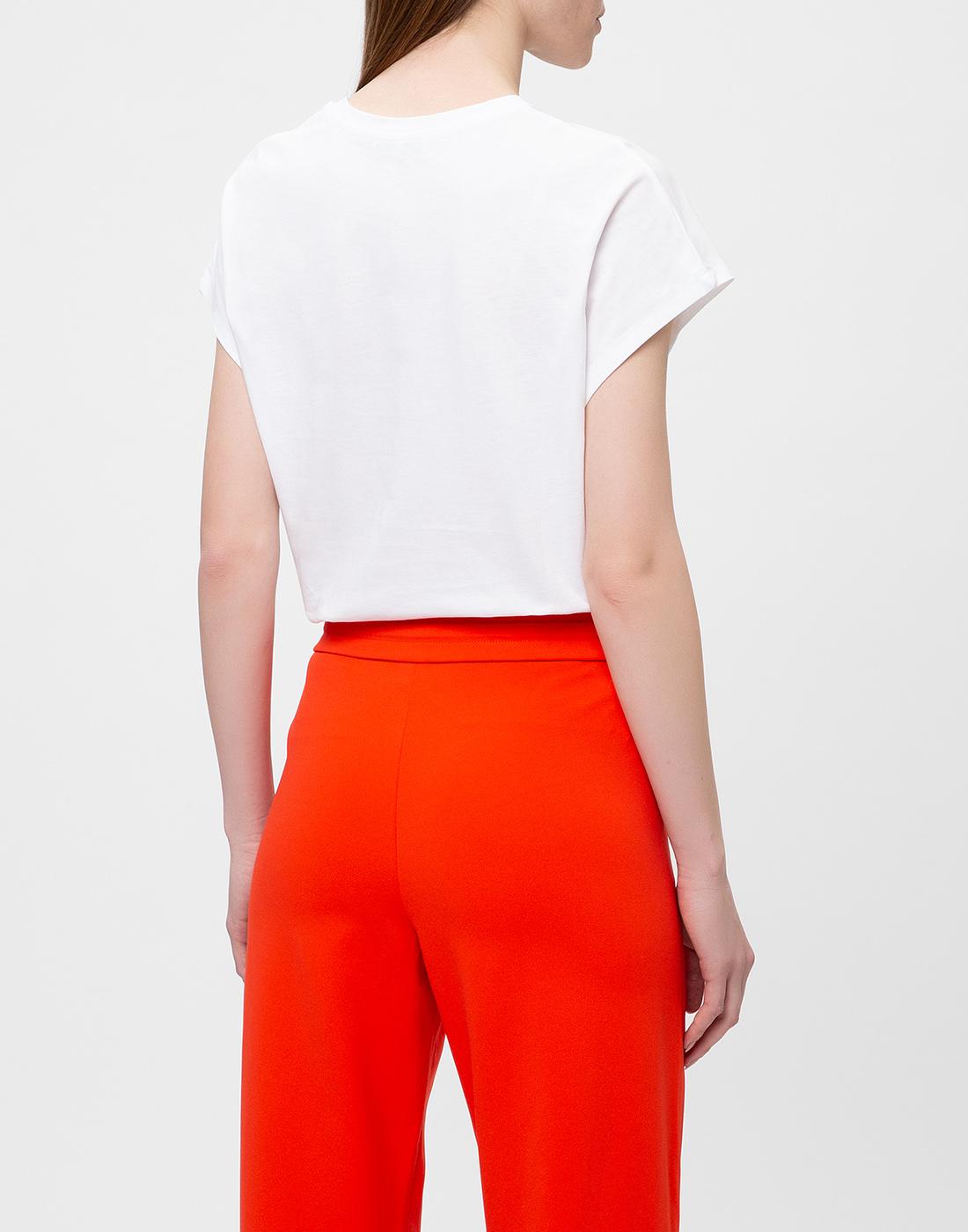 Женская белая футболка с вышивкой пайетками  Dorothee Schumacher S623103/026-4